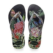 Havaianas Women's Slim Tropical Flip Flops, Black/Graphite, 4/5 UK 5 EU