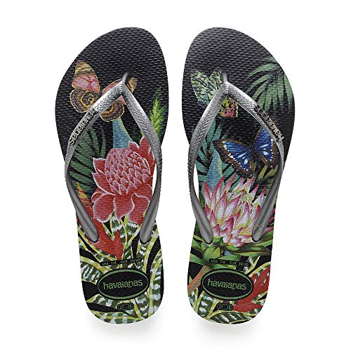 Havaianas Damen Slim Tropical Zehentrenner , Mehrfarbig (Black/Graphite) , 37/38 EU (35/36 Brazilian)
