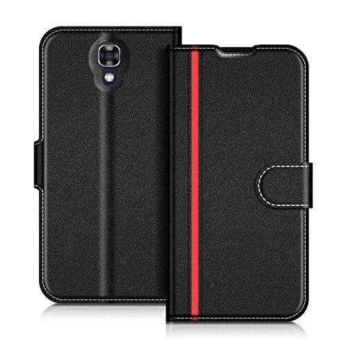 Coodio LG X Screen Hülle Leder Lederhülle Ledertasche Wallet Handyhülle Tasche Schutzhülle mit Magnetverschluss / Kartenfächer für LG X Screen, Schwarz/Rot