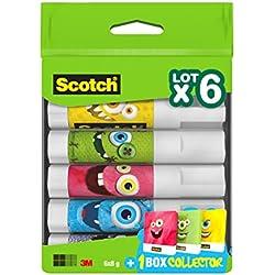 Scotch Lot de 6 Bâtons de colle avec Boîte Multicolore