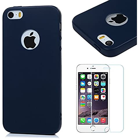 iPhone 5 Funda Silicona Azul oscuro,iPhone 5s/SE Silicona Case Carcasa Gel TPU - Mavis's Diary Suave Bumper Shock-Absorción y Anti-Arañazos para iPhone SE/5s/5 + Un Protector Cristal Templado de Pantalla