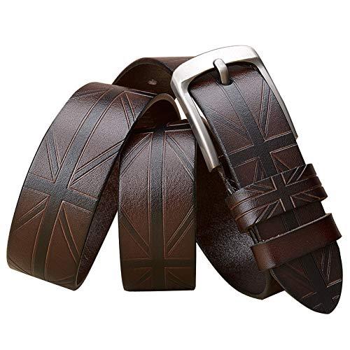 ES-AP-Western Cowboy Men Belt Cuero Vaca Alta Calidad Cuero Vaca Garra/Pin Hebilla Casual Jeans Cinturón 3.8 Cm Ancho 110-129 Cm Largo (Marrón,110)