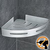 Wangel Estantería de Esquina para Baño Ducha, Pegamento Patentado + Autoadhesivo, Aluminio, Acabado Mate, Estantes