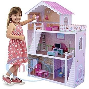Mcc Wooden Kids Doll House With Furniture Staircase Fits Barbie