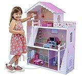 Puppenhaus aus Holz mit 17 teiligem Moebelset und Treppen, von MCC, NEU !