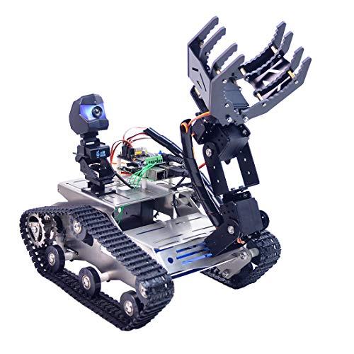 Foxom Robot Programmabile per Arduino Mega, Smart Robot Car Kit con WiFi, Modulo Bluetooth, Modulo Segui Linea, Sensore a Ultrasuoni e Videocamera HD - Compatibile con Arduino