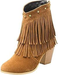 YE Botte Court Femme Bottines Franges Zip Talon Haut Chunky Boots Chaussure  Hiver 9b1b45a50e54