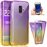 Herbests Carcasa Galaxy A8 Plus 2018 Silicona, Funda Samsung Galaxy A8 Plus 2018 360 Grados Completa Protectora Gel Carcasa Ultra Delgado Gradiente Colores TPU Transparente Suave Silicona Funda