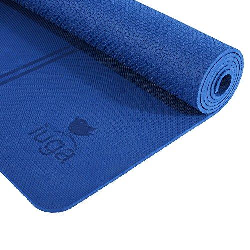 Iuga - Esterilla antideslizante para yoga, extra gruesa de 7mm y con rayas en el medio para la alineación. Tiene una correa de transporte de calidad y está hecha de material 100 % de TPE. Excelente cojín, antideslizante y ligero, tamaño 183x 65cm, azul