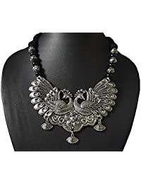 AyA Fashion Designer Oxidised German Silver Peacock Necklace With Black And Silver Beads| Black Thread Work |Elegant...