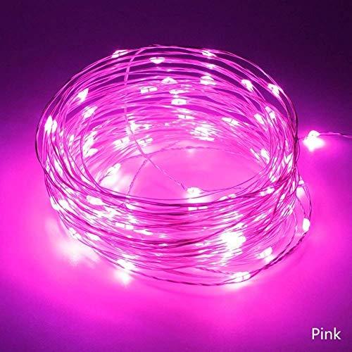 Wsyywd ghirlanda festa di nozze decorazione led luci stringa albero di natale senza batteria rosa 10 metro 100 led