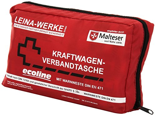 Leina-Werke 11060 KFZ-Verbandtasche Compact Ecoline mit Warnweste und Klett, Rot/Schwarz/Weiß