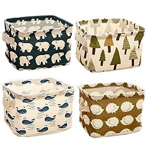 Ciaoed Leinen Speicher Organizer Sets (Wal, Eisbär, Igel, Bäume) Kleine Baby Stoff Aufbewahrungsbox Organizer mit 2 Griffen auf beiden Seiten 20.5x17x15cm -Sets von 4