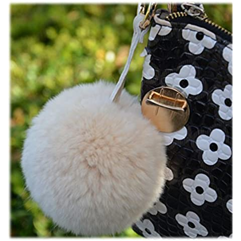 Modelshow Fascino pelliccia di coniglio Palla Pendente con Portachiavi Anello