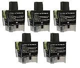 5 Druckerpatronen für Brother Black Schwarz DCP-110C, DCP-110, DCP115 C,DCP-117C, DCP-120,DCP-120C,DCP -210C,DCP-310C, DCP-310CN, DCP 315C , DCP 315CN , DCP 340 CW MFC-210C, MFC210, MFC-215C, MFC-410C, MFC-410CN, MFC-420C, MFC-420CN, MFC-425, MFC-425CN, MFC-610CLN, MFC-610CLWN, MFC-620C, MFC-620CN, MFC-620CLN, MFC-3240C, MFC-3240CN, MFC-3340 C, MFC-3340CN, MFC-5440C, MFC-5440CN, MFC-5840CN FAX-1835 C, FAX-1840 C, FAX-1940 CN, FAX-2440C, FAX-5440C ersetzt LC-900BK LC900BK