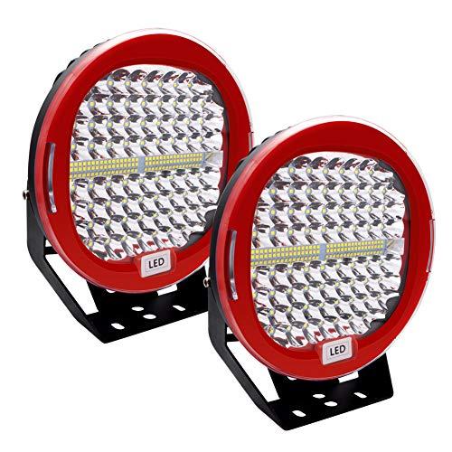 LED Pod Lichtleiste 9 Zoll Safego 2Pcs 408W 32600Lm wasserdicht rot runde Arbeitslichtleiste Spot Beam Offroad Licht Driving Nebelscheinwerfer Dach Lichtleiste für SUV-Boot 4x4 J-eep, 2 Jahre Garantie