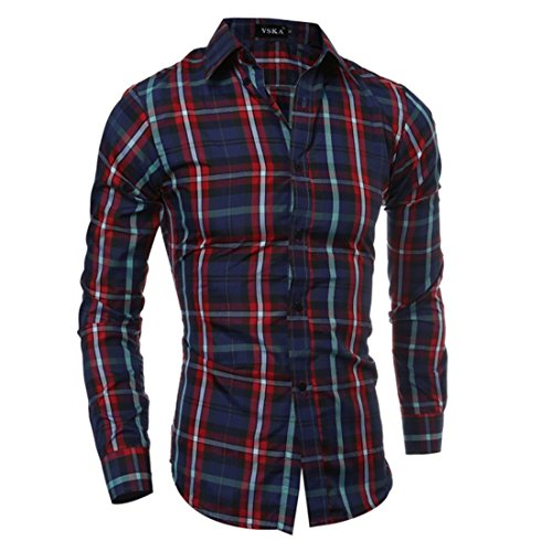 Men's Chemise Cotton Long Sleeve Slim Fit Casual Shirts red