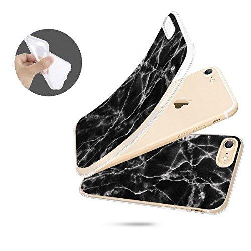 finoo   iPhone 7 Weiche flexible Silikon-Handy-Hülle   Transparente TPU Cover Schale mit Motiv   Tasche Case Etui mit Ultra Slim Rundum-schutz   Elefanten Marsch Schwarze Textur Risse