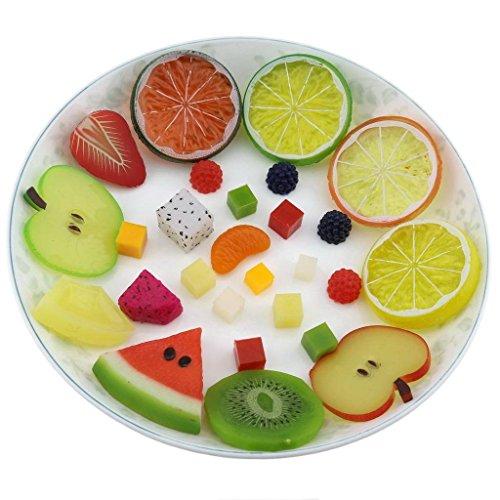 Gresorth 27 Stück Künstlich Fälschung Obst Scheibe Dekoration Apfel Zitrone Erdbeere Kiwi Orange ...... - Künstliche Zitrone Scheiben