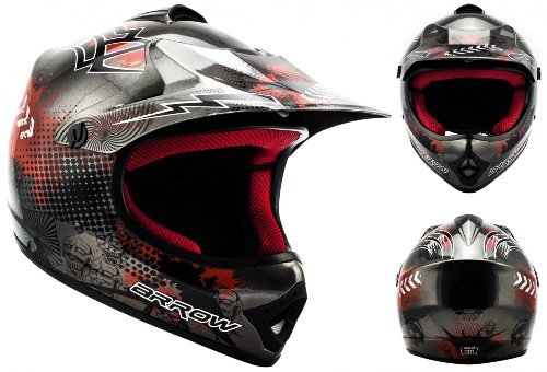 "/· Kids-Cross Helmet /· Enduro Off-Road MX Child Motorcycle Moto-Cross-Helmet /· DOT certified /· Click-n-Secure/™ Clip /· Carrier Bag /· XS silver Armor /· AKC-49 /""Titan/"" 51-52cm"