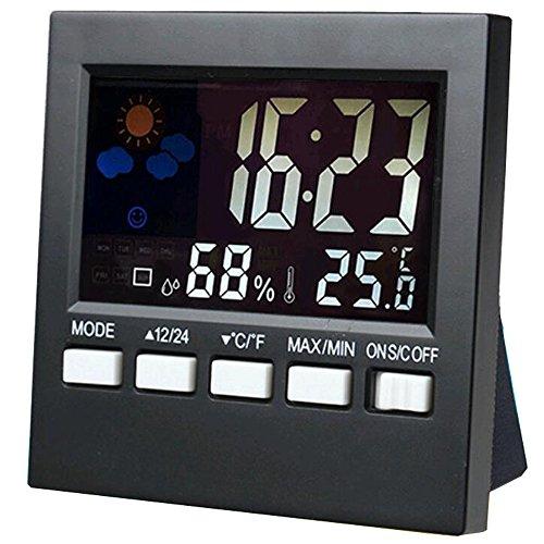 SunJas Sveglia Orologio Grande HD Schermo,Postpone,Intelligente Luce Soffusa,Allarme Progressive,Batteria Funzionato,Impostazione Semplice,Esposizione di Temperatura,Facile per Viaggi Nero