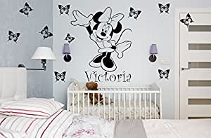 MINNIE MOUSE WALL STICKER DISNEY PERSONALISED WITH NAME FOR GIRLS BEDROOM OR KIDS PLAYROOM, BABIES NURSERY