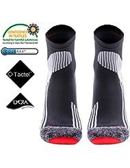 Running Sock -MEIKAN Calcetines para hombre,Athletic calcetines cortos deportivos profesionales Fast Dry Humedad anti-blister transpirable para ciclismo, correr, MARATHON de tenis, correr, triatlón, Hombres y Mujeres (Negro, 39-43)
