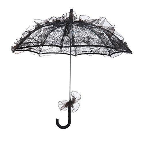 Bestoyard ombrellone matrimonio elegante punte ombrellone vintage gotico matrimonio party schi mangiare taglia l (nero)