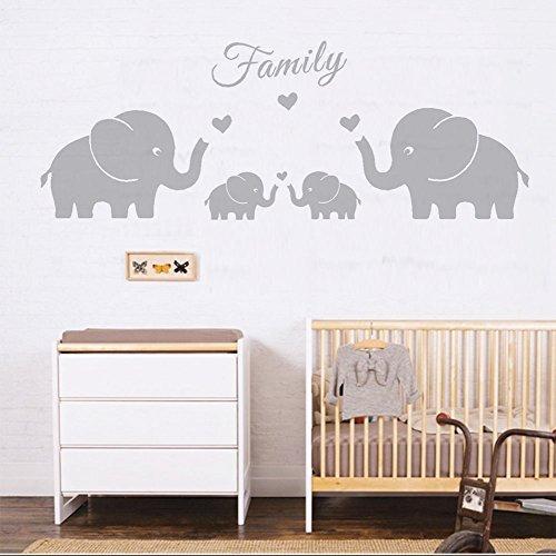 Vier Elefanten Eltern und Zwillinge Familie Wand Aufkleber liebe herz Wandsticker für Zwillinge Baby Kinderzimmer Dekoration (Groß, Grau) (Vinyl-wand-aufkleber-elefant)