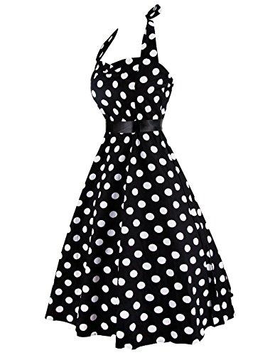 iPretty Damen 1950er Retro Vintage Knielang Kleider Neckholder mit Tuch- Gürtel STYLE-1