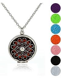 Collar difusor de aceite esencial de aromaterapia, tono plata, monógramo, letra M, colgante de medallón