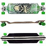 FunTomia Longboard Skateboard Drop Through Cruiser Komplettboard mit Mach1 High Speed Kugellager T-Tool mit und ohne LED Rollen (Modell Drop Down aus Ahornholz - Farbe grün Skull - Flex 1)