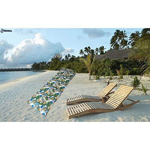 Cisne 2013, S.L. Cojín Colchón para Tumbona o Mueble para Jardín, Playa, Exteriores. Cojín Suave Asiento terraza etc. Medidas 180x50x8cm. Diseño Tropical de tucanes.
