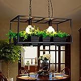 Pendelleuchte Eisenkunst Kreativität Blumentöpfe Dekoration Bartheke Wohnzimmer Restaurant Cafe Kronleuchter E27,Black