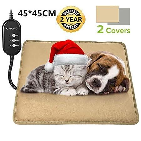 OMORC Heizkissen für Hund und Katze, Heizdecke Hund mit Thermostaten, Heizmatte Hund mit 2 austauschbaren Decken, Anti…