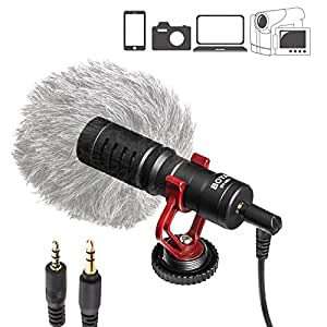 BOYA by-MM1 Universal Cardiod Shotgun Microphone Mini Mic for iOS iPhone 8 8 Plus 7 7 Plus 6 6s Mac iPad Tablet Canon Nikon DSLR Camera Camcorder