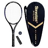 Senston Adulte Full Carbon Raquette de Tennis, Fibre de Carbone Raquette de Tennis, y Compris de Tennis de Coque, la stabilité est Mieux, Blue Racket