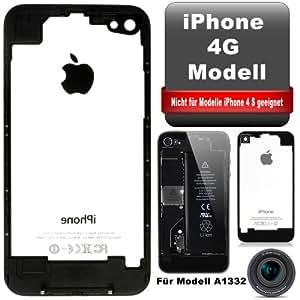 Apple iPhone 4 Backcover Batteriedeckel Neues Modell ''Original Glas Transparent in schwarz'' jetzt NEU inkl. NANO Profi - Werkzeug (Siehe Bilder) & Displayschutzfolie 1 x Vorderseite - Schutzfolie & 1 x Rückseite - Schutzfolie im Lieferumfang. Bundle Angebot !