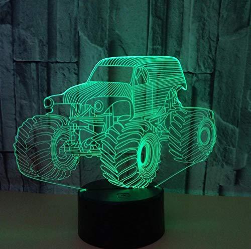 Luce Notturna 3D Illusione Ottica Led Lampada Auto Interruttore Tattile Cambio 7 Colori Lampada Da Letto Per Camera Da Letto Per Bambini, Regali Per Feste Di Compleanno Per Bambini