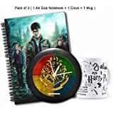 "MC SID RAZZ ""Harry Potter "" Combo Of House Crest 3 Table/Wall Clock + 3D Notebook + Black Mug-Pack of 3"