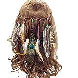 Faylapa - Diadema de princesa india con borlas y plumas de pavo real, para mujer y niña amarillo amarillo