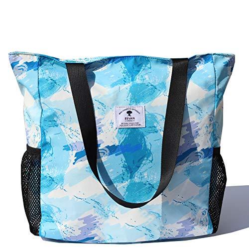 ESVAN, Damen Tote-Tasche Blau [E] Floral Leaf L -