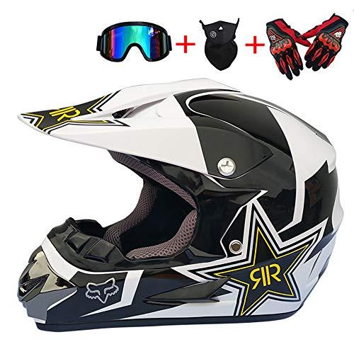 ZHYY Motocross-Helm für Erwachsene Offroad-Motorrad ATV-Helm AM-Mountainbike-Helm DOT mit Handschuhen Sturmmaske und Brille Motocross ATV Offroad-Langstreckenrennen,L