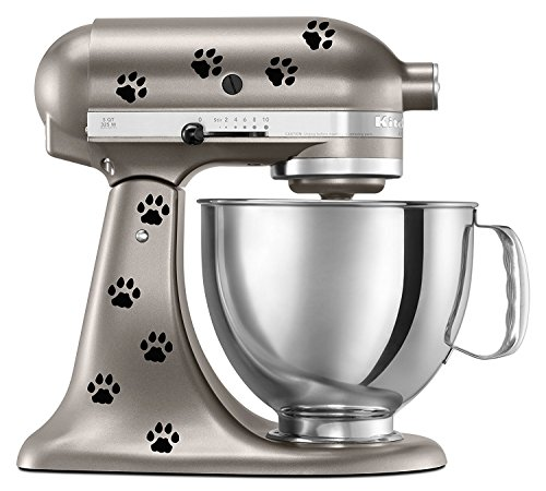 Cat Paw Prints Decal In Black for KitchenAid Mixer - Classic Cool Artistic - also for MacBook, Laptop, Car, or Anything by Bent Wookie