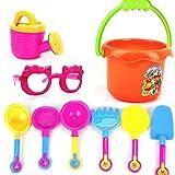 Yunnasi Sand Toys Baby Beach Toy set completo di 9secchio da spiaggia mare giocattoli bambini stampi di sabbia e sabbiera con occhiali da sole