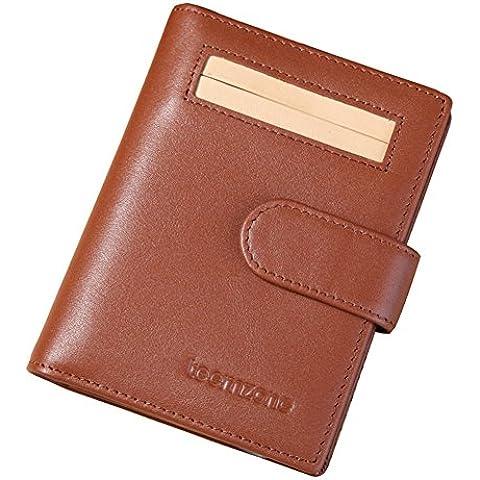 Teemzone tarjetero hombre portajetas del cuero genuino del negocio Titular de la tarjeta de crédito