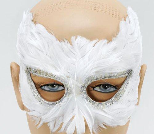 White Feather Eye Mask Masquerade Ball Venetian Theatrical -