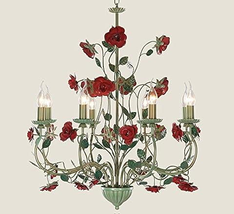 NAUY Lustres rétro de salon de style européen Double lustre rose et romantique à rosette Éclairage créatif de restaurant ( Couleur : 8-head