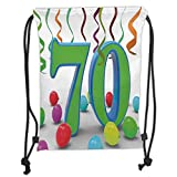 Drawstring Backpacks Bags,70th Birthday Decorations,House Party Theme Colorful Balloons Curls Fun Image,Fern Green and Blue Soft Satin,5 Liter Capacity,Adjustable String Closure,Th