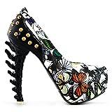Show Story - Zapatos de tacón abiertos, plataforma, diseño rock con mariposas y tachuelas, tacón en forma de hueso, LF80626, color multicolor, talla 37 1/3
